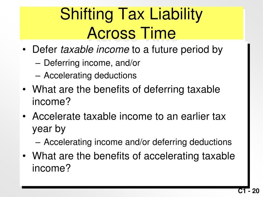 Shifting Tax Liability