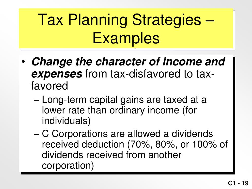 Tax Planning Strategies –