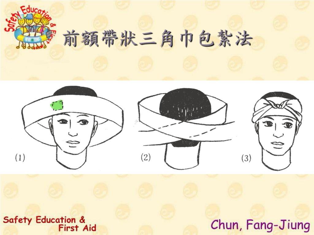 前額帶狀三角巾包紮法