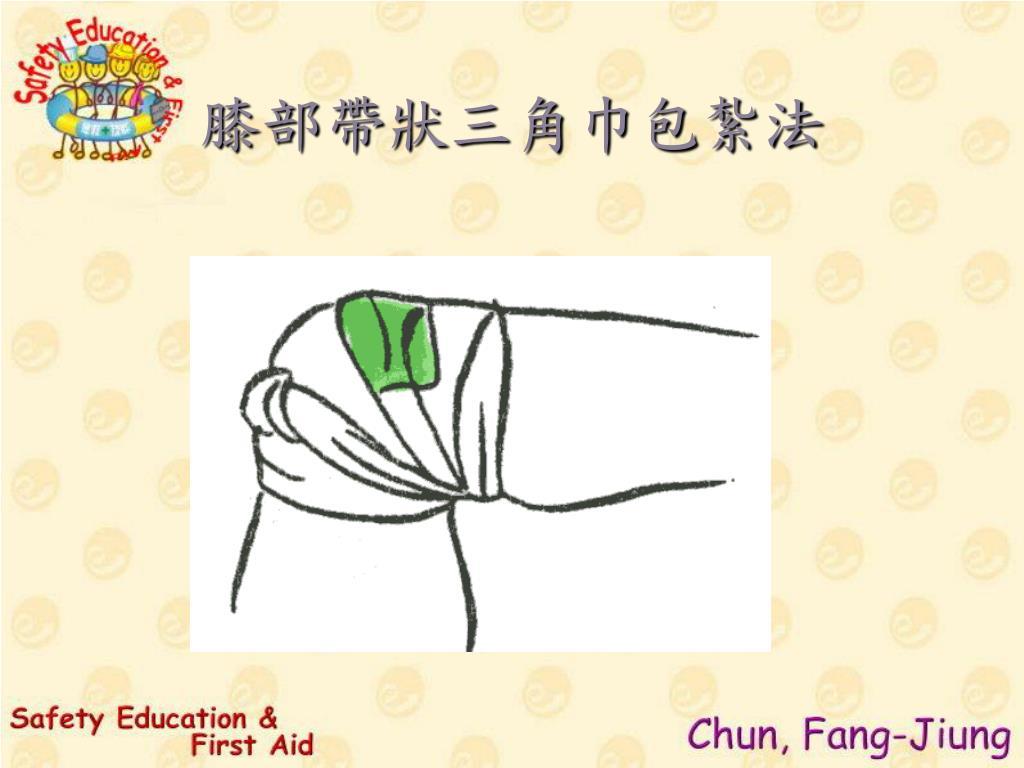膝部帶狀三角巾包紮法