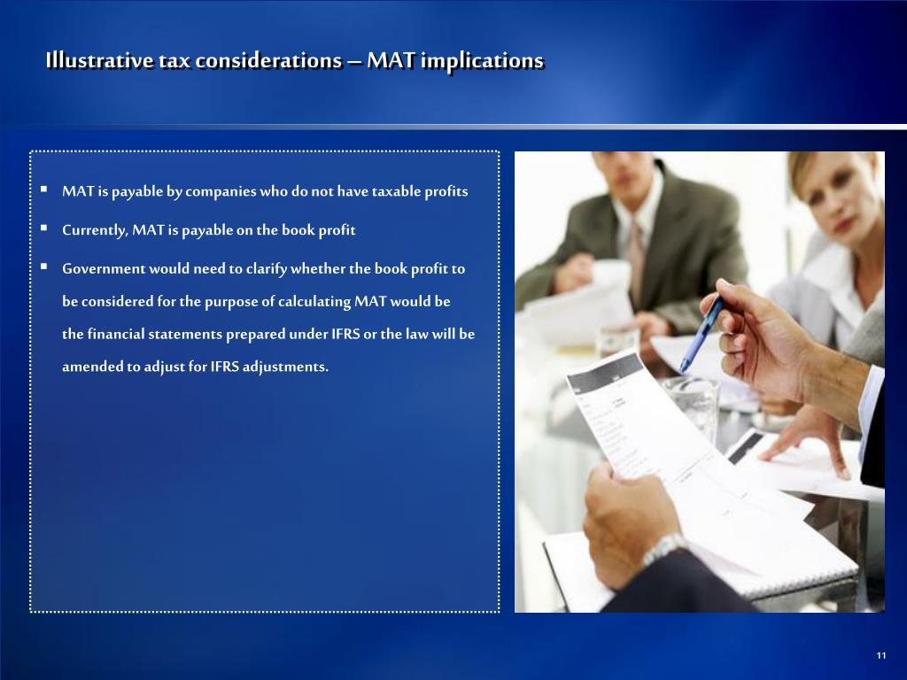 Illustrative tax considerations – MAT implications