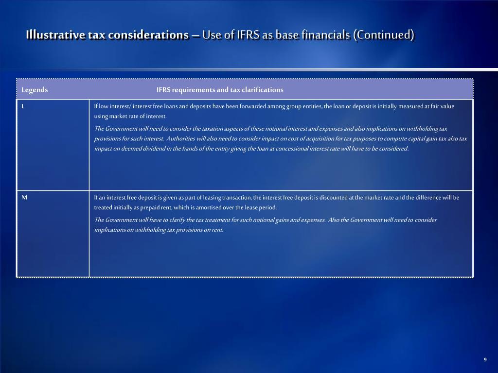Illustrative tax considerations –