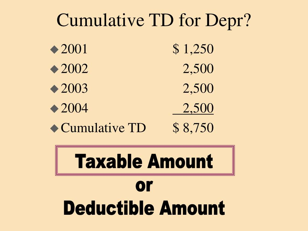 Cumulative TD for Depr?