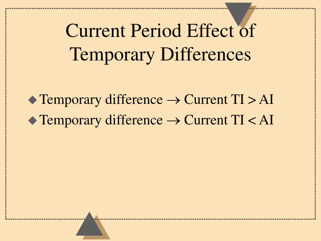 Current Period Effect of Temporary Differences