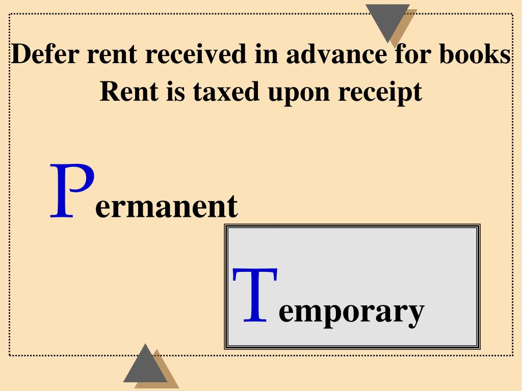 Defer rent received in advance for books  Rent is taxed upon receipt