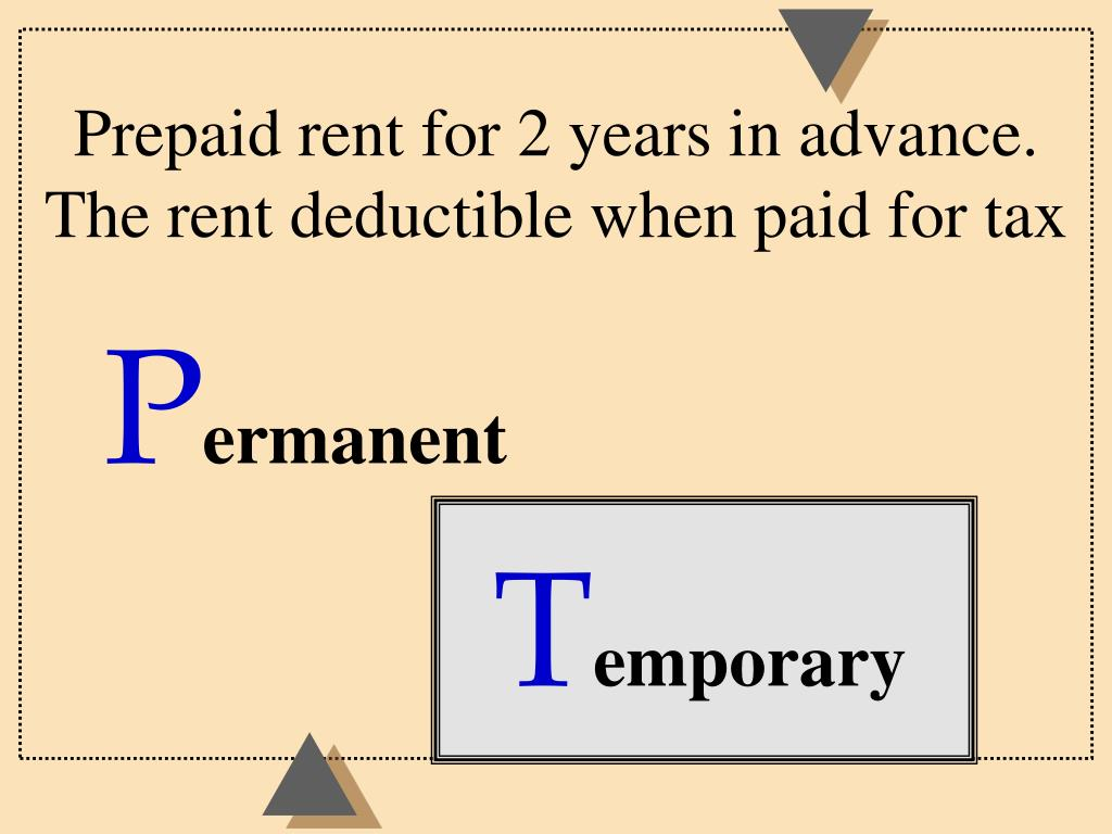 Prepaid rent for 2 years in advance.  The rent deductible when paid for tax