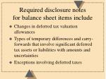 required disclosure notes for balance sheet items include