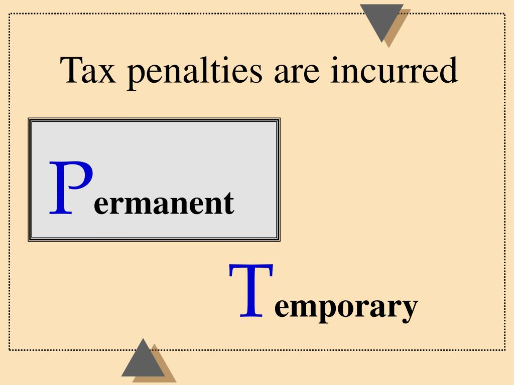 Tax penalties are incurred