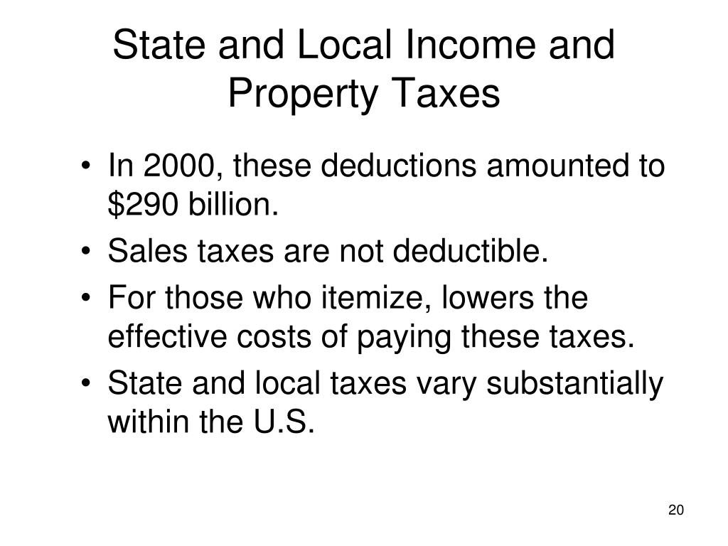 State and Local Income and Property Taxes