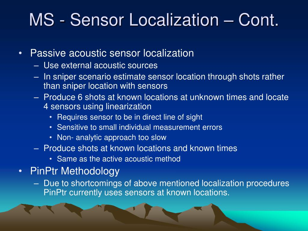 MS - Sensor Localization – Cont.