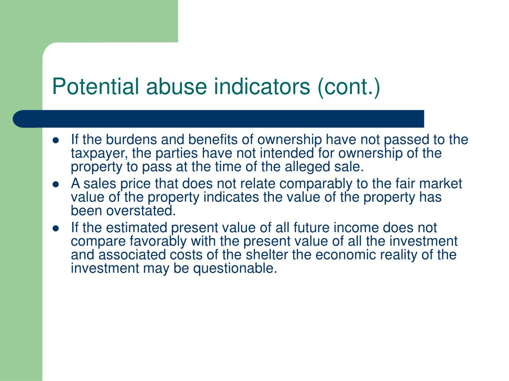 Potential abuse indicators (cont.)