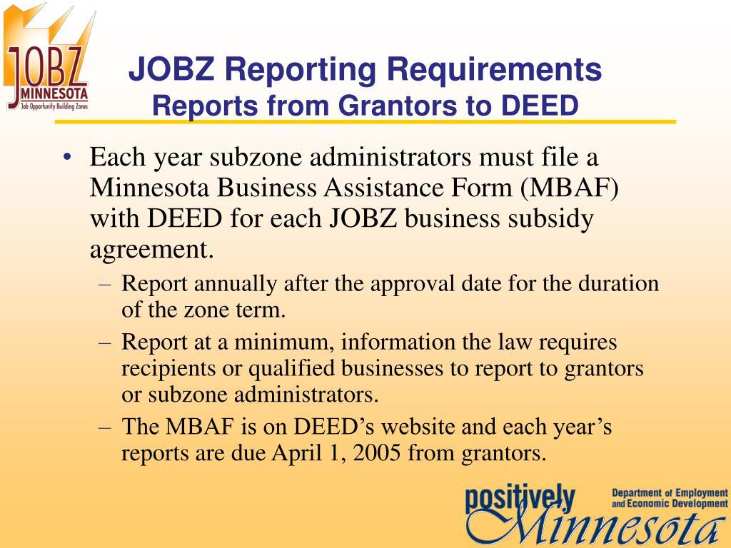 JOBZ Reporting Requirements