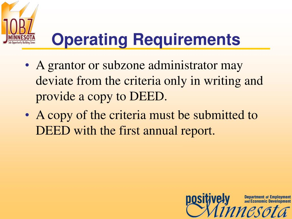 Operating Requirements