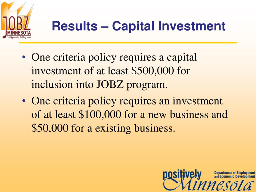 Results – Capital Investment