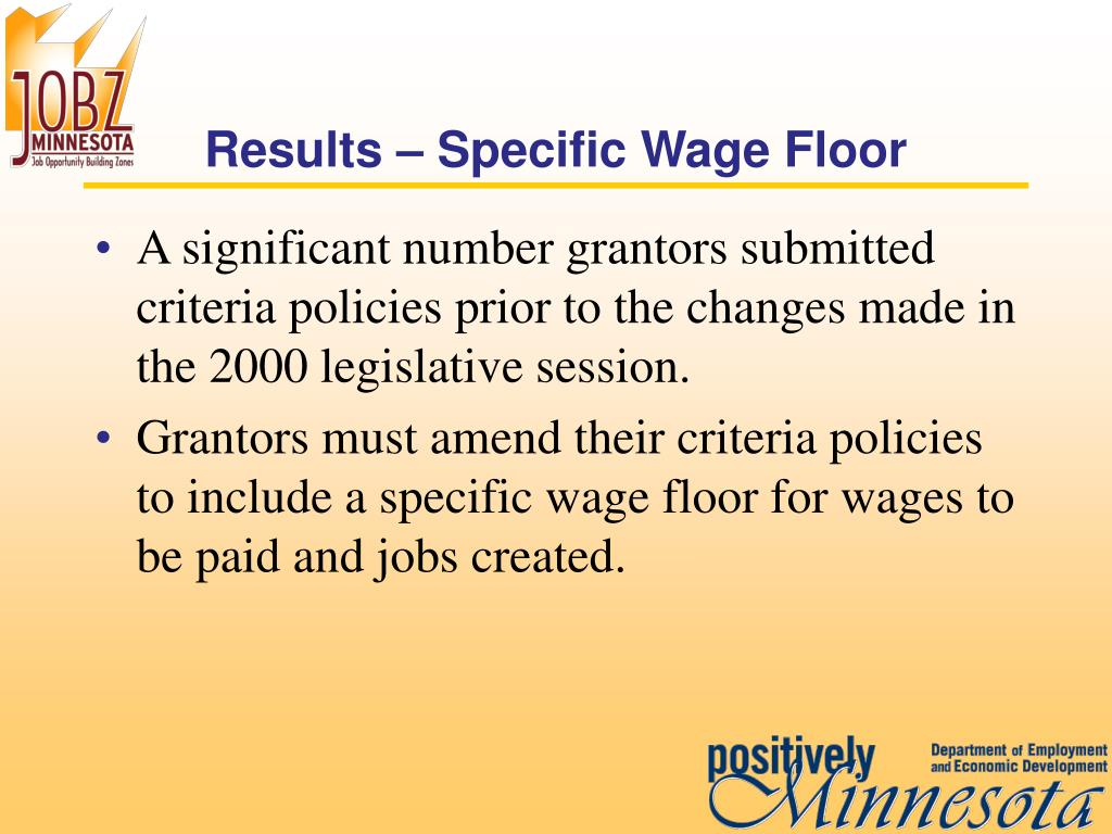 Results – Specific Wage Floor