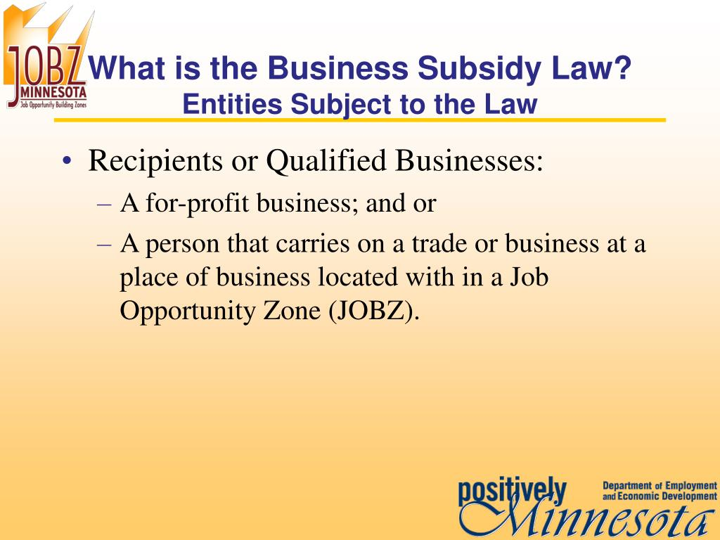 What is the Business Subsidy Law?