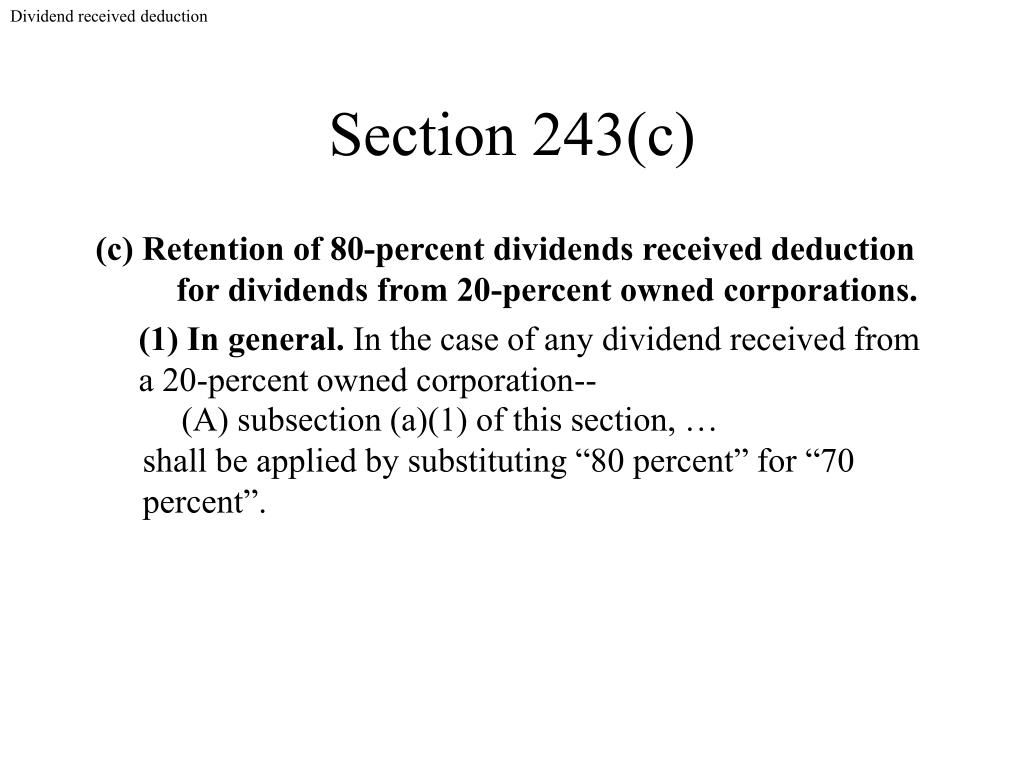Dividend received deduction