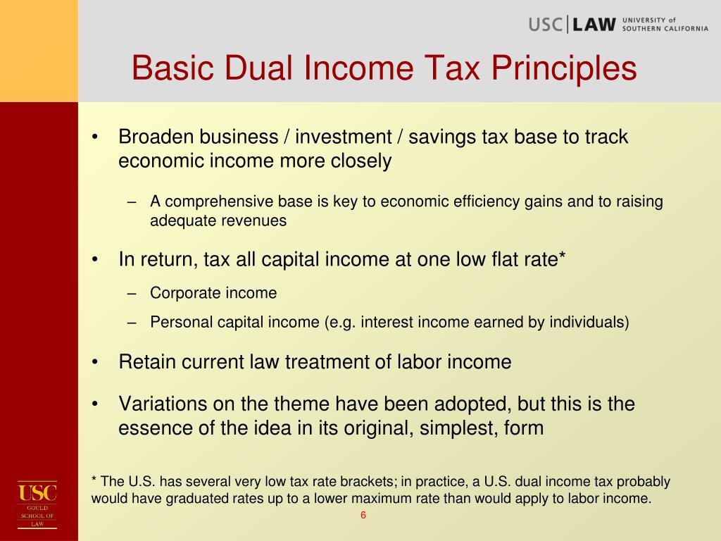 Basic Dual Income Tax Principles