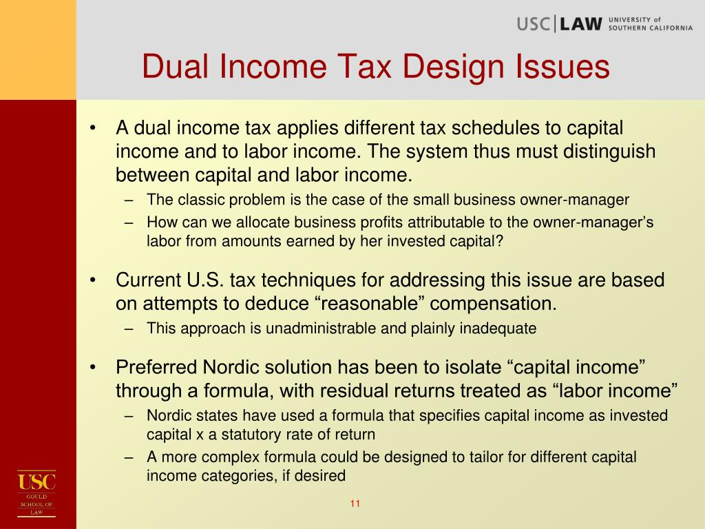 Dual Income Tax Design Issues