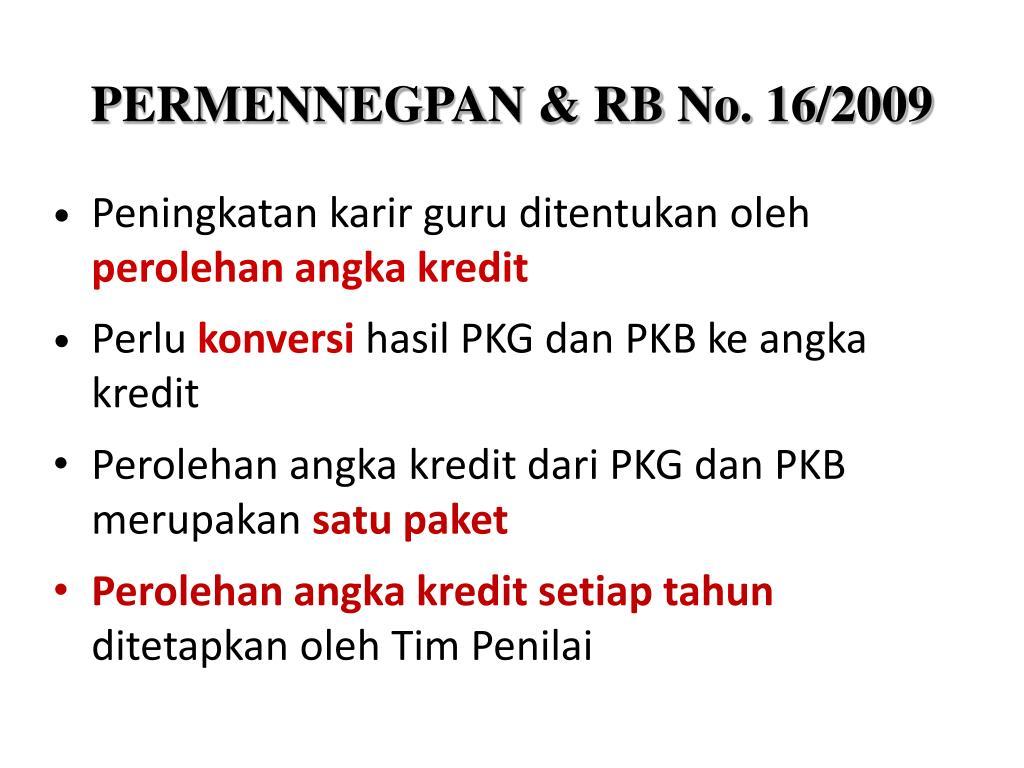 PERMENNEGPAN & RB No. 16/2009