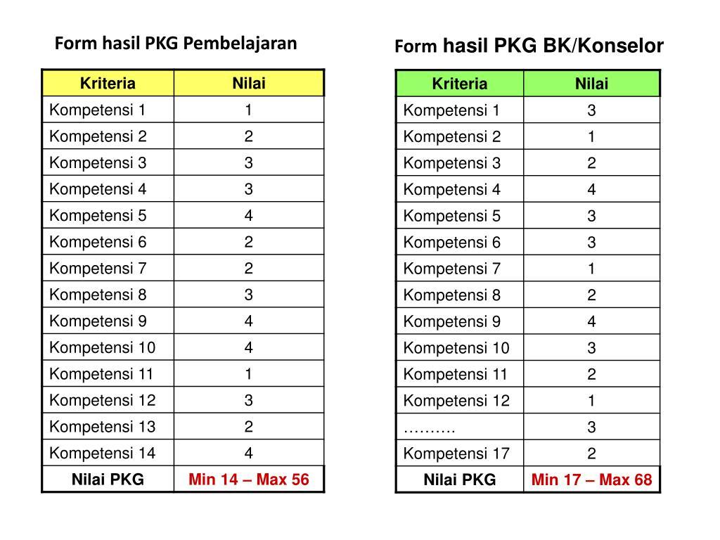 Form hasil PKG Pembelajaran