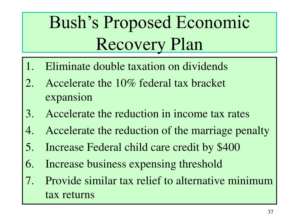 Bush's Proposed Economic Recovery Plan