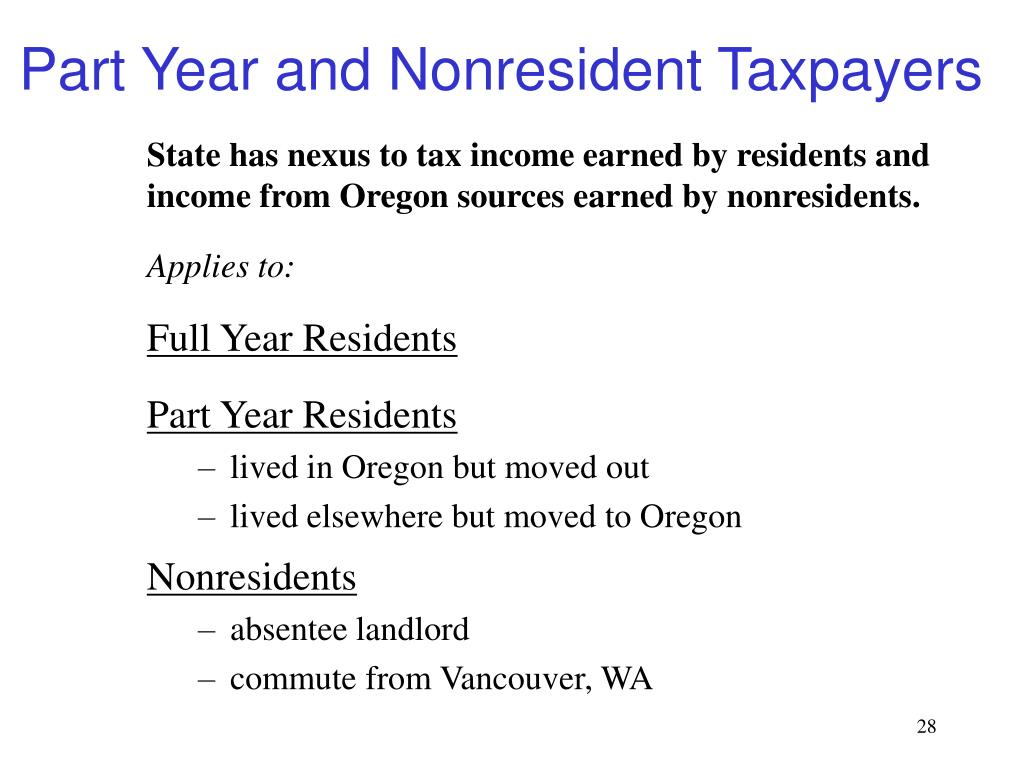 Part Year and Nonresident Taxpayers