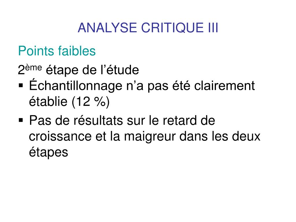 ANALYSE CRITIQUE III