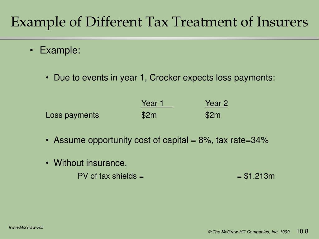 Example of Different Tax Treatment of Insurers