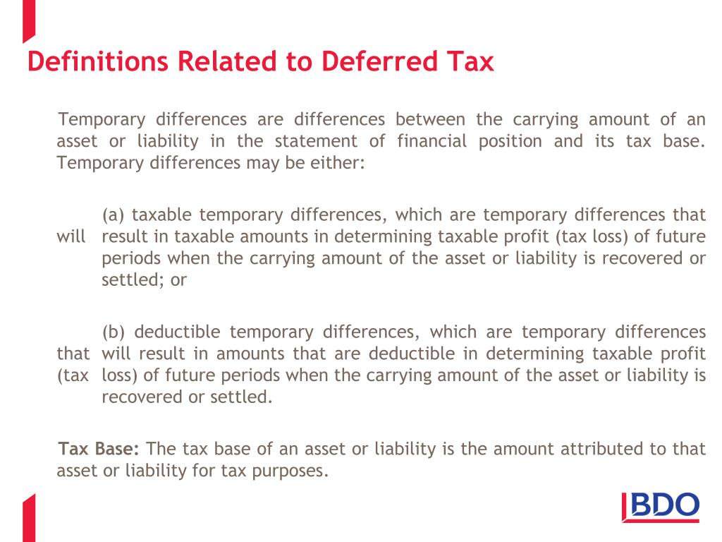 Definitions Related to Deferred Tax