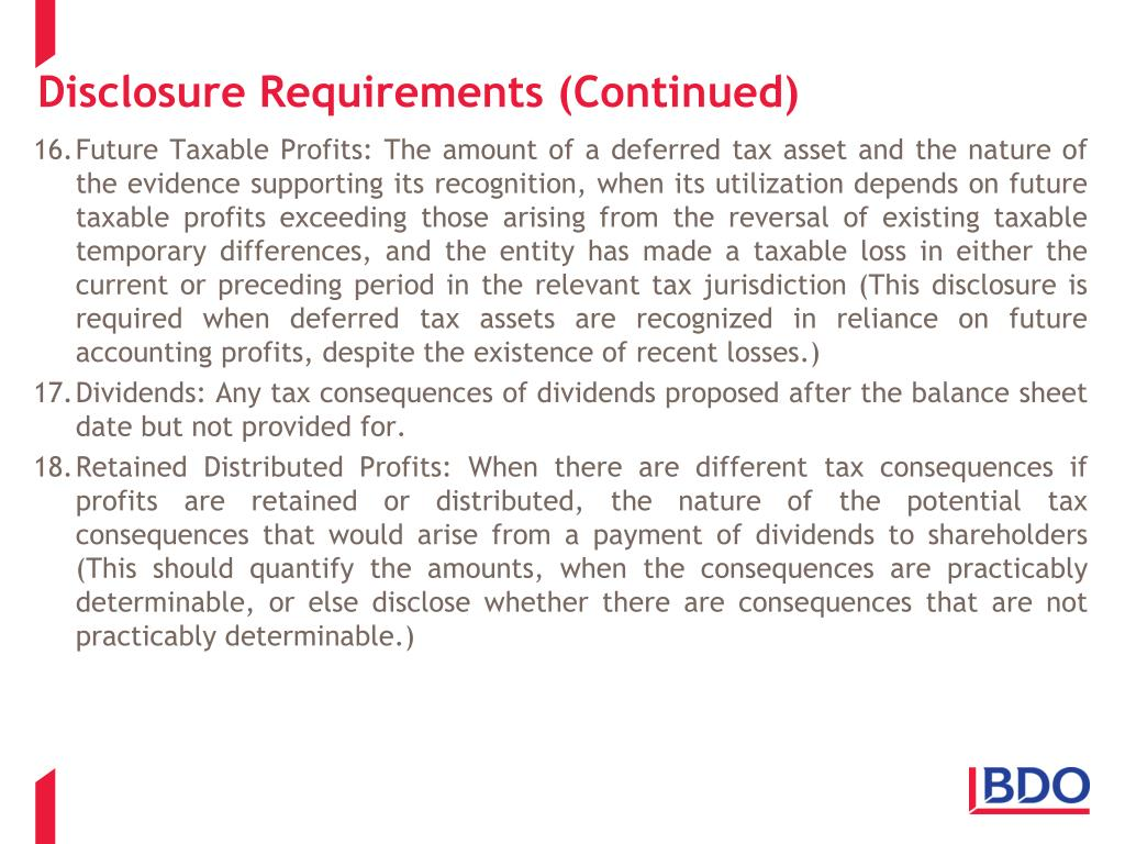 Disclosure Requirements (Continued)
