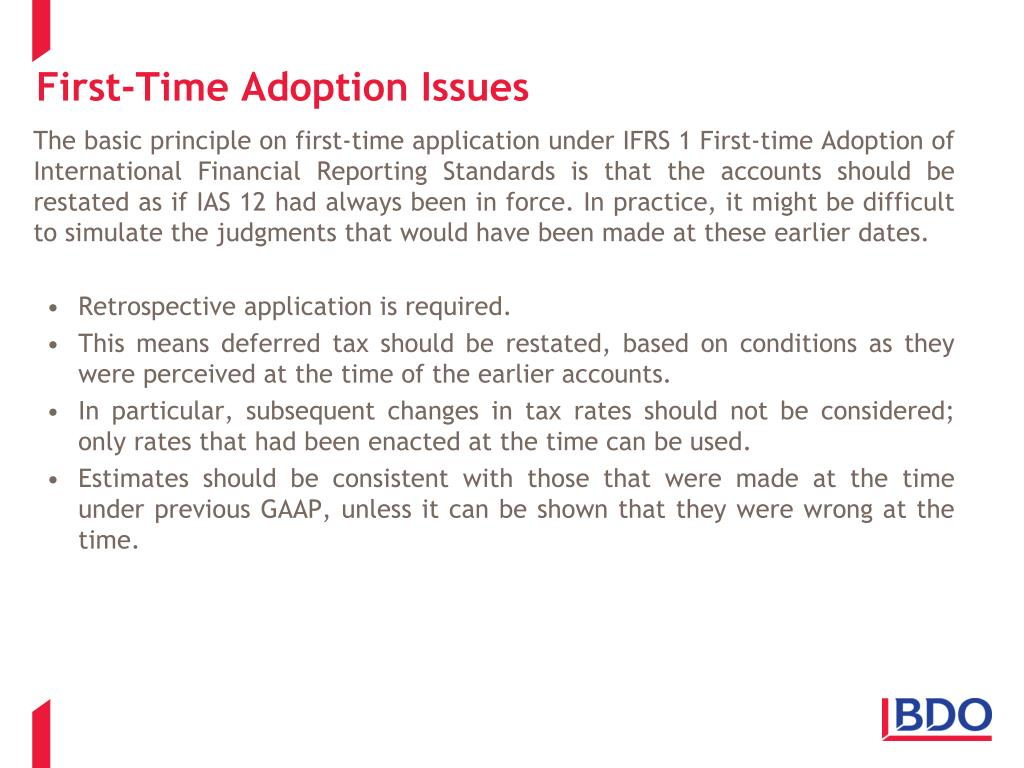 First-Time Adoption Issues