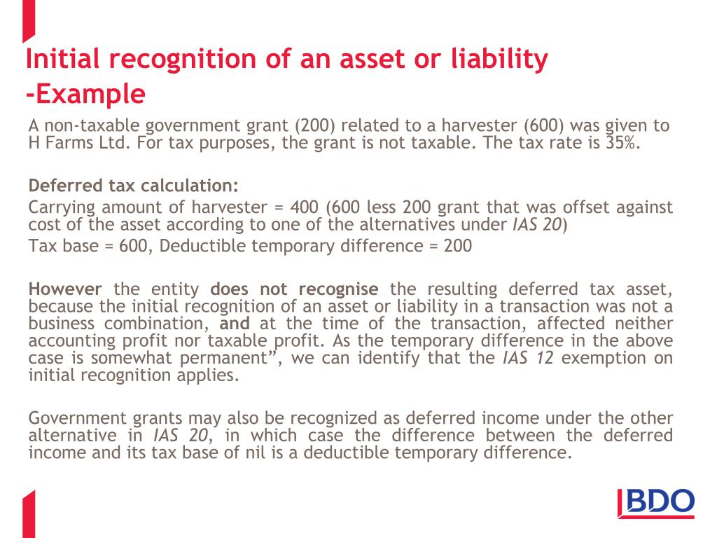 Initial recognition of an asset or liability