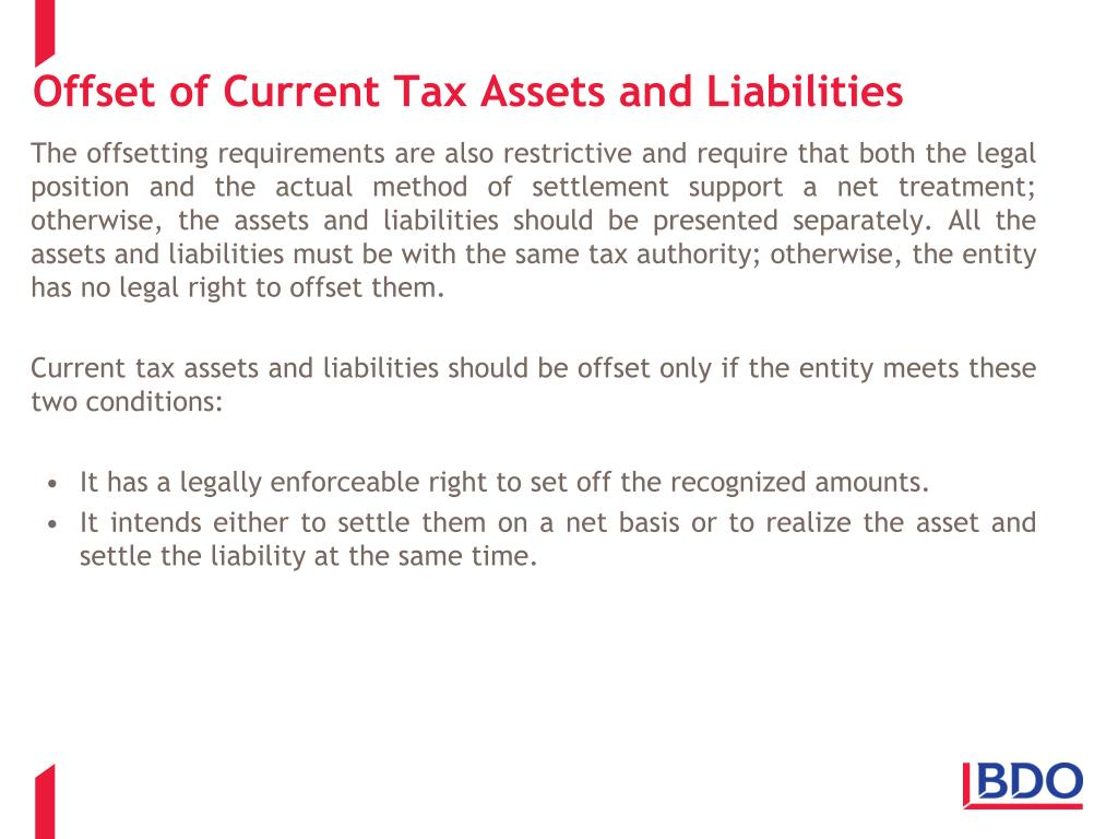 Offset of Current Tax Assets and Liabilities