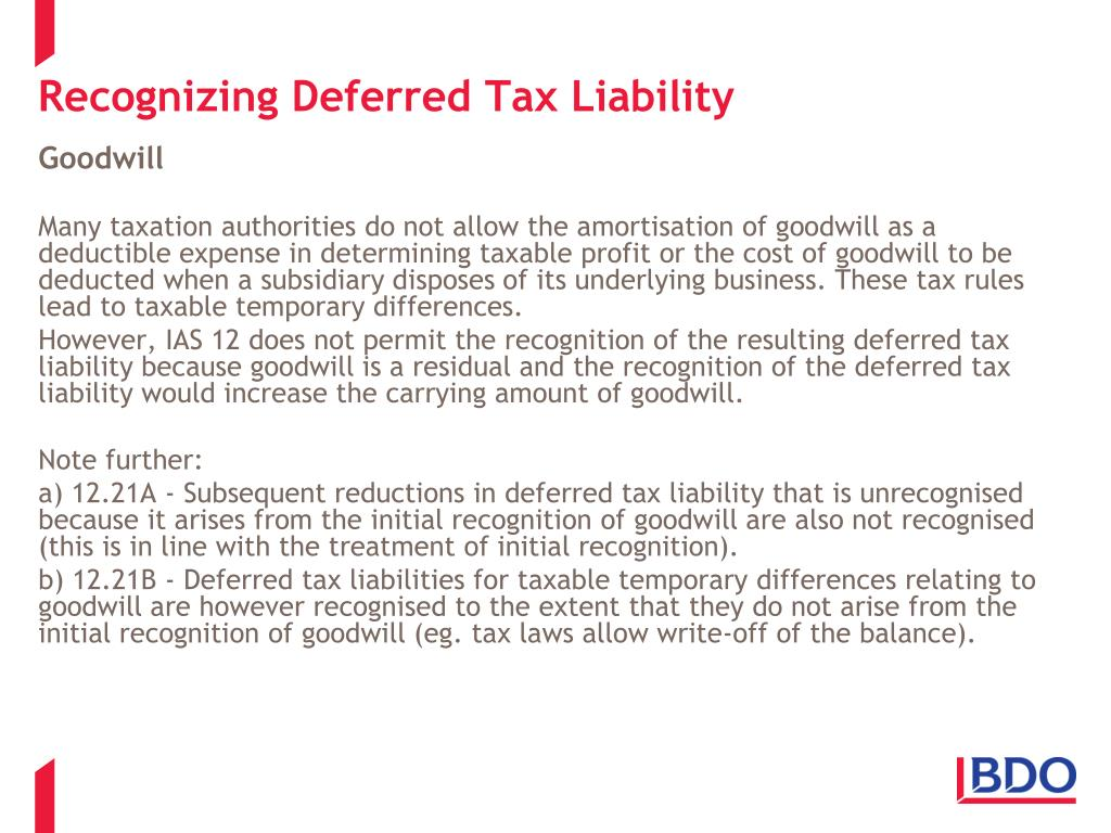 Recognizing Deferred Tax Liability