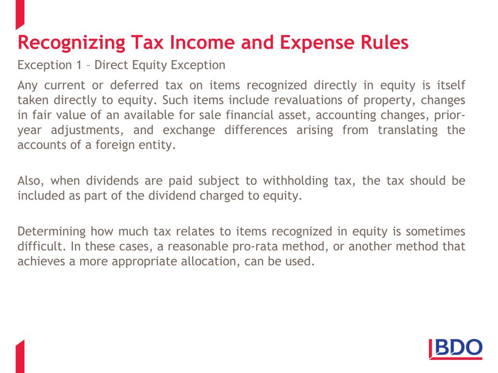 Recognizing Tax Income and Expense Rules