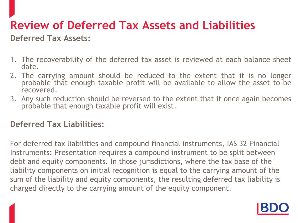 Review of Deferred Tax Assets and Liabilities