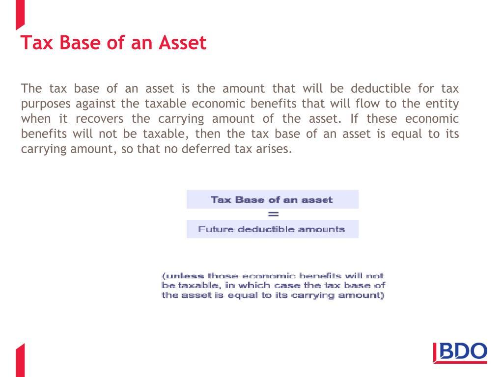 Tax Base of an Asset