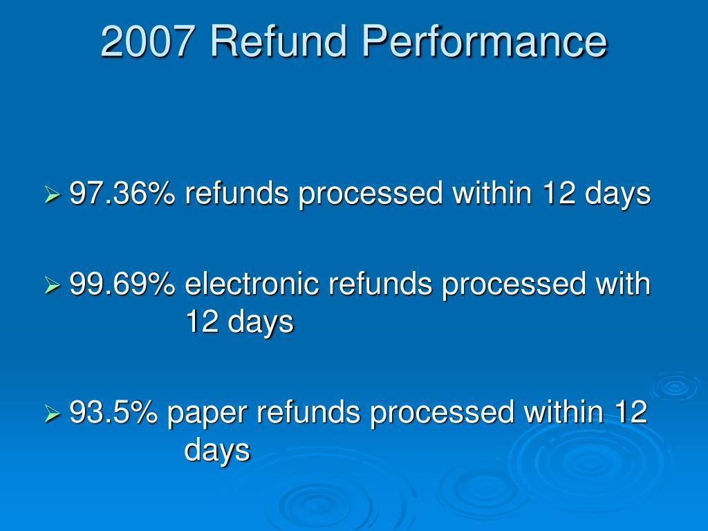 2007 Refund Performance