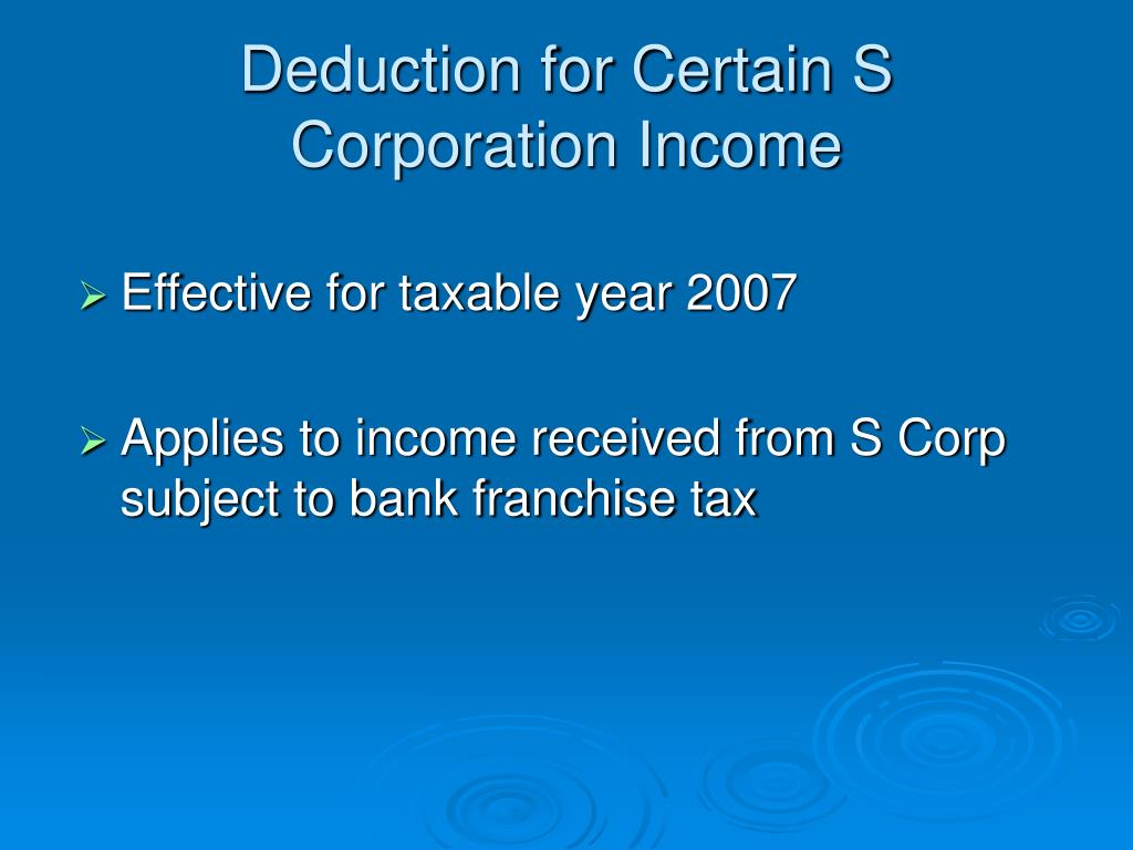 Deduction for Certain S Corporation Income