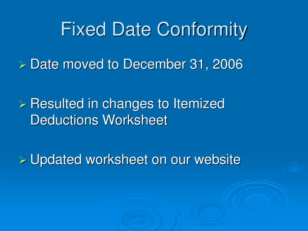 Fixed Date Conformity