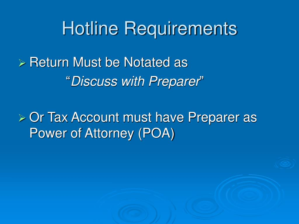 Hotline Requirements