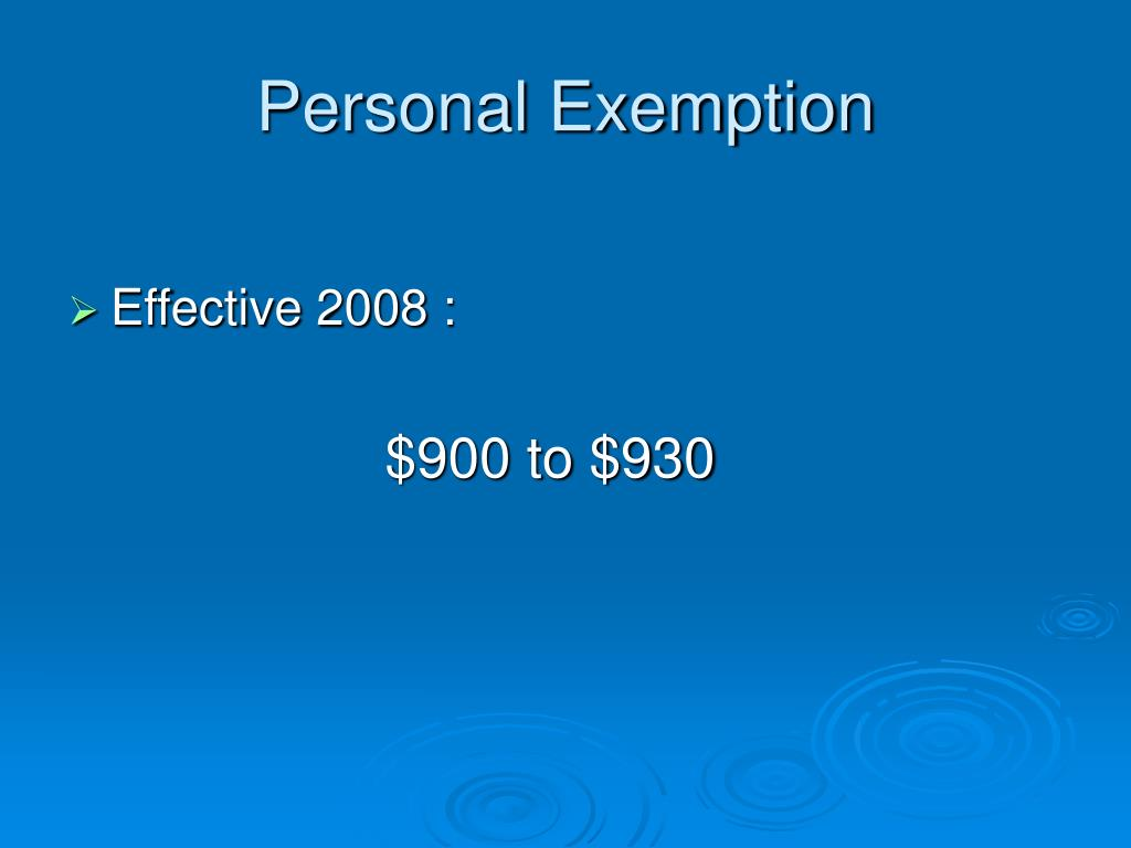 Personal Exemption