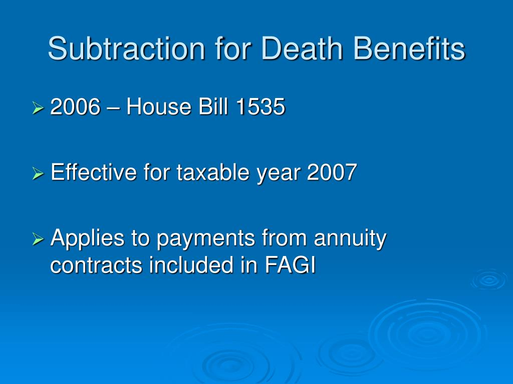 Subtraction for Death Benefits