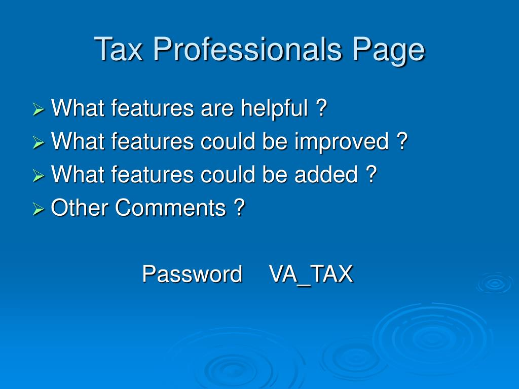 Tax Professionals Page