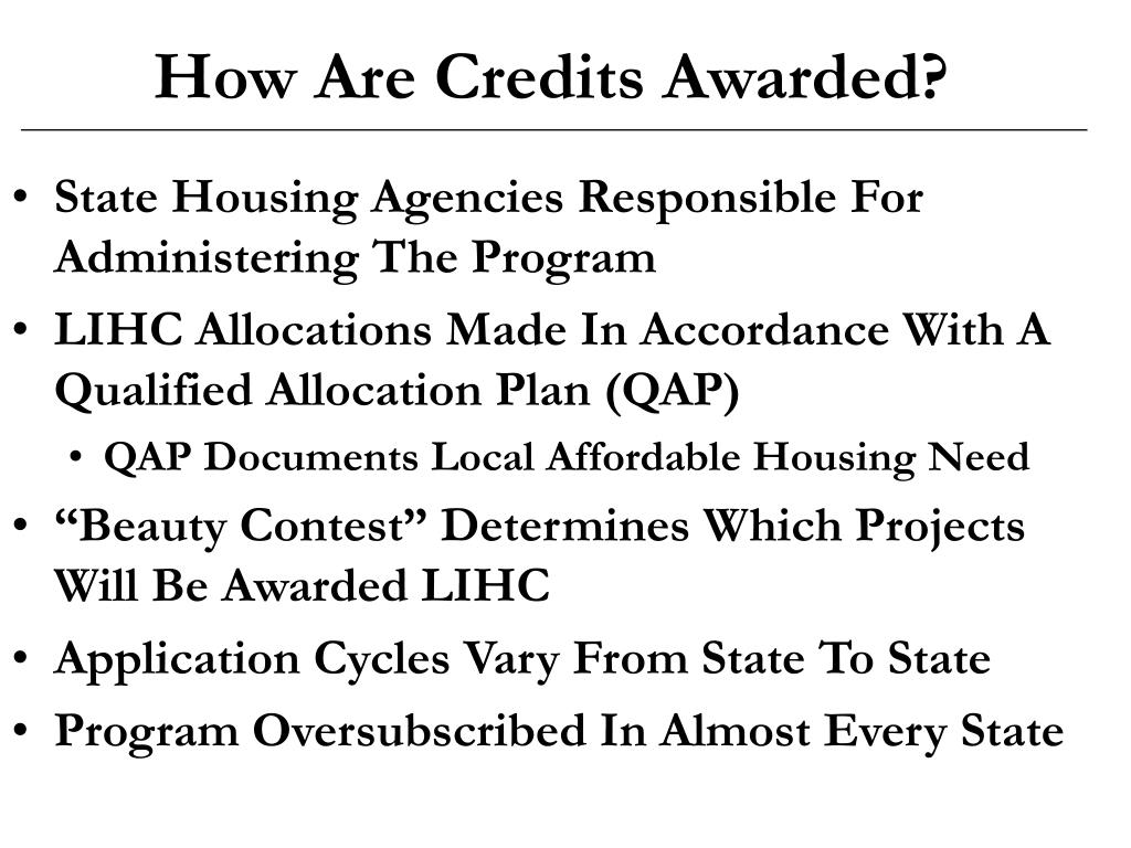 How Are Credits Awarded?