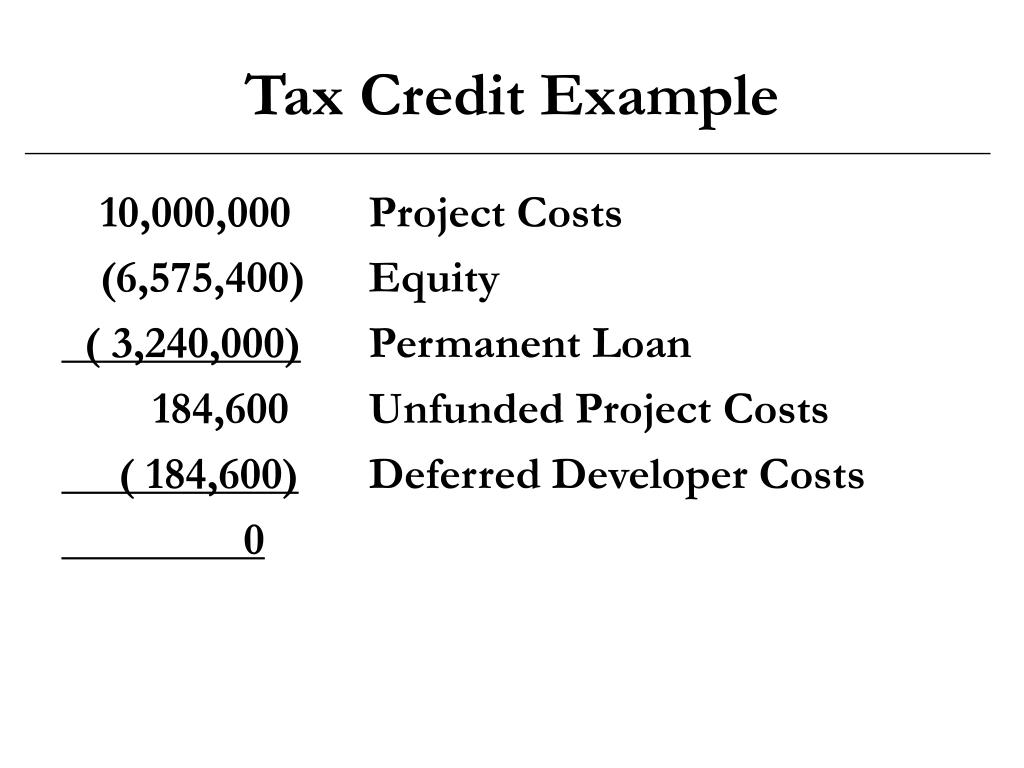 Tax Credit Example