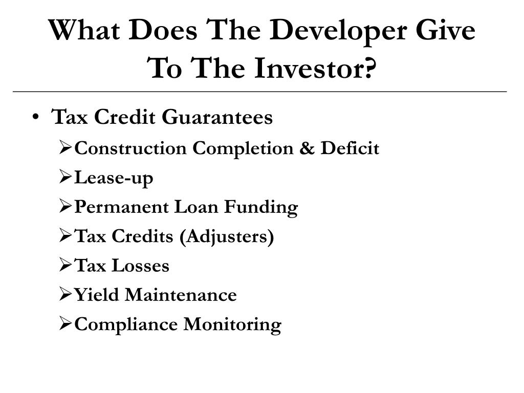 What Does The Developer Give To The Investor?