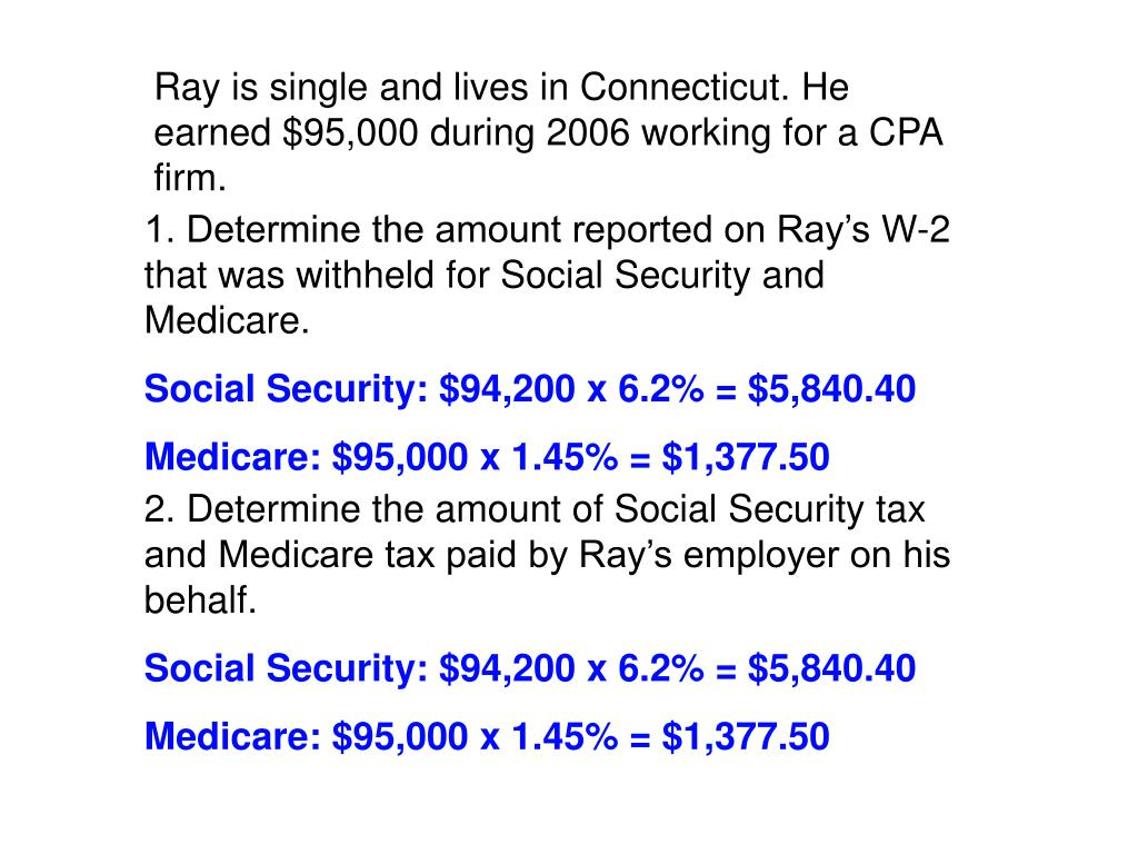 Ray is single and lives in Connecticut. He earned $95,000 during 2006 working for a CPA firm.