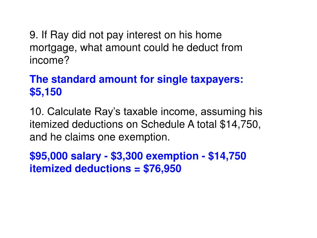 9. If Ray did not pay interest on his home mortgage, what amount could he deduct from income?